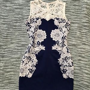 Royal blue and white floral dress